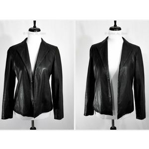 Saks Fifth Avenue Jackets & Coats - SAKS FIFTH AVE • Black Leather Open Front Blazer
